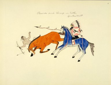 [Sioux Indian painting, Overthrow of a Pawnee Warrior by Dog Bear (Zintka Mato), a Sioux lancer.]
