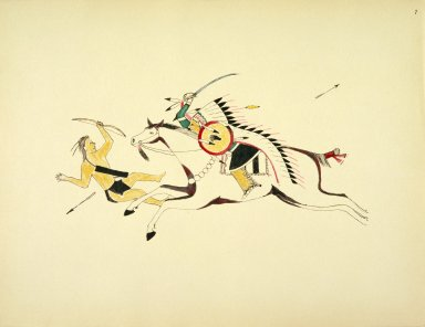 [Sioux Indian painting, Mounted Sioux (Name Unknown) Sabering a Pawnee Bowman]