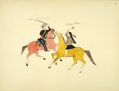 [Sioux Indian painting, Symbolic Portrayal of the Conflict Between the Indians and the Whites is Represented by Their two Most Famous Leaders]