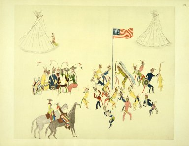 [Sioux Indian painting, Shoshone Dance Participated in Only by the Men]
