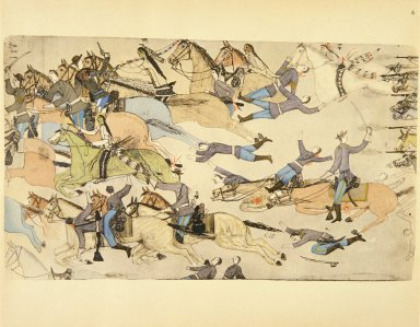 [Sioux Indian painting, Retreat of Reno's Commnand]