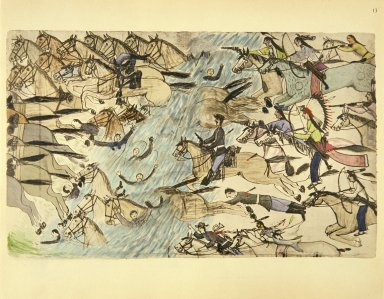 [Sioux Indian painting, Troopers Being Driven Across the River]