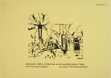 [Ancient Pictographs, Rattlesnake Canyon, Texas, Les peintres indiens d'Amérique, American Indian painters]