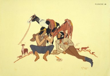 [Les peintres indiens d'Amérique, American Indian painters, Resting Cowboys]