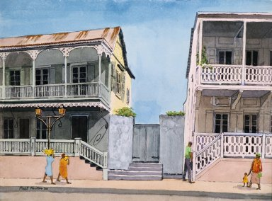 Double-Porched Homes along Street