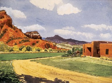 Adobe House in Southwest Landscape