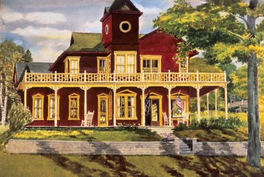 Exterior View of Red House with Yellow Trim