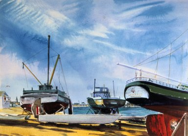 Boats on Nantucket Shore