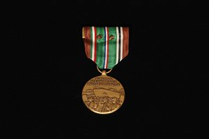 WWII European, African, Middle Eastern Campaign Medal With Two Campaign Stars (front view)