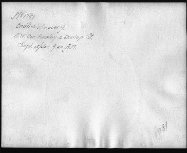 Rapid Transit Photographs -- Box 12, Folder 07 (September 15, 1926) -- print, 1926-09-15, 9:40 A.M. (back of photograph)