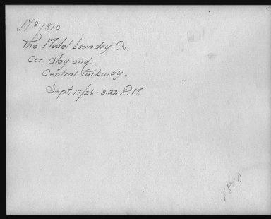 Rapid Transit Photographs -- Box 12, Folder 10 (September 17, 1926) -- print, 1926-09-17, 3:22 P.M. (back of photograph)
