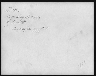 Rapid Transit Photographs -- Box 12, Folder 13 (September 18, 1926 - September 20, 1926) -- print, 1926-09-20, 8:20 A.M. (back of photograph)