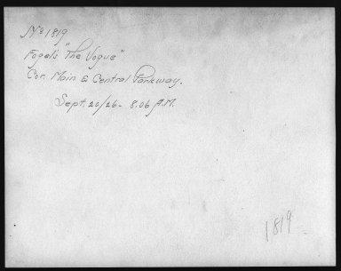 Rapid Transit Photographs -- Box 12, Folder 13 (September 18, 1926 - September 20, 1926) -- print, 1926-09-20, 8:06 A.M. (back of photograph)
