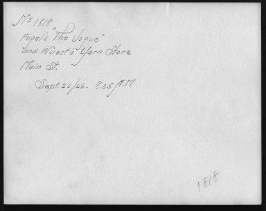 Rapid Transit Photographs -- Box 12, Folder 13 (September 18, 1926 - September 20, 1926) -- print, 1926-09-20, 8:05 A.M. (back of photograph)
