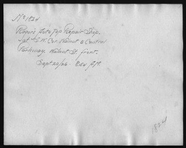 Rapid Transit Photographs -- Box 12, Folder 14 (September 20, 1926) -- print, 1926-09-20, 8:54 A.M. (back of photograph)