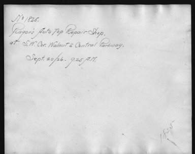 Rapid Transit Photographs -- Box 12, Folder 14 (September 20, 1926) -- print, 1926-09-20, 9:25 A.M. (back of photograph)