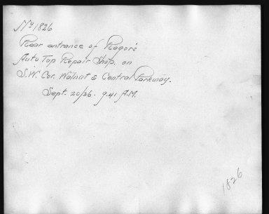 Rapid Transit Photographs -- Box 12, Folder 14 (September 20, 1926) -- print, 1926-09-20, 9:41 A.M. (back of photograph)