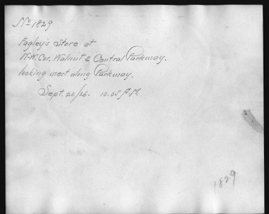 Rapid Transit Photographs -- Box 12, Folder 14 (September 20, 1926) -- print, 1926-09-20, 10:05 A.M. (back of photograph)
