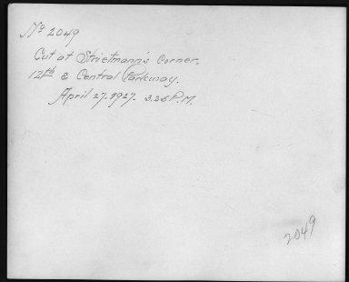 Rapid Transit Photographs -- Box 12, Folder 35 (April 11, 1927 - April 27, 1927) -- print, 1927-04-27, 3:25 P.M. (back of photograph)
