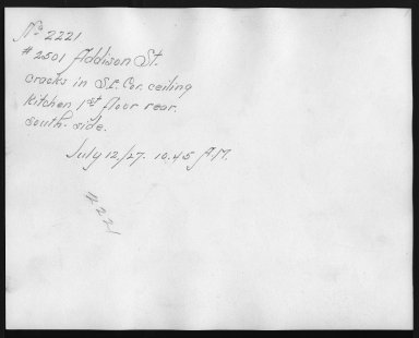 Rapid Transit Photographs -- Box 12, Folder 51 (July 11, 1927 - July 12, 1927) -- print, 1927-07-12, 10:45 A.M. (back of photograph)