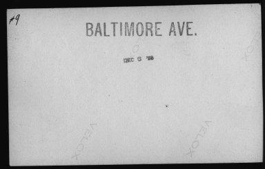 Street Improvement Photographs -- Box 21, Folder 16 (Baltimore Avenue) -- print, 1929-12-06 (back of photograph)