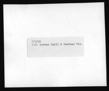 Street Improvement Photographs -- Box 21, Folder 48 (Carll Street) -- print, 1934-02-06 (back of photograph)