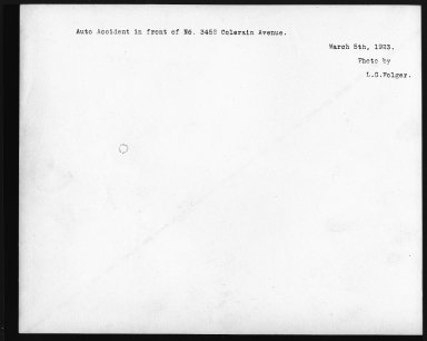 Street Improvement Photographs -- Box 21, Folder 65 (Colerain Avenue) -- print, 1923-03-05 (back of photograph)