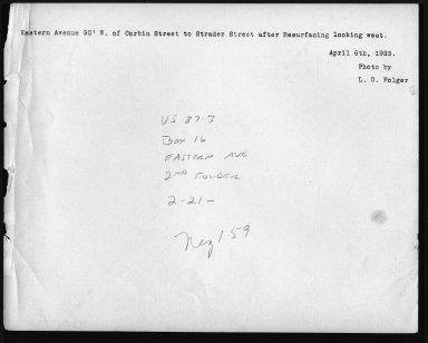 Street Improvement Photographs -- Box 22, Folder 47 (Eastern Avenue) -- print, 1923-04-06 (back of photograph)