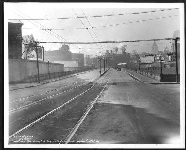 Street Improvement Photographs -- Box 23, Folder 46 (Gilbert AveViaduct) -- print, 1938-02-01