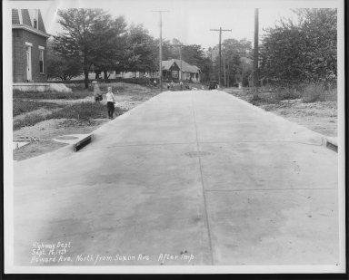 Street Improvement Photographs -- Box 24, Folder 49 (Howard Avenue) -- print, 1929-09-16