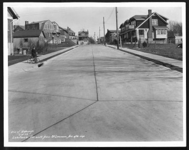 Street Improvement Photographs -- Box 26, Folder 16 (Lusitania Avenue) -- print, 1933-02-16
