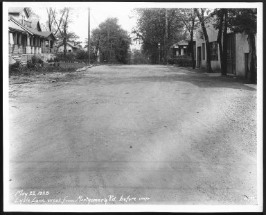 Street Improvement Photographs -- Box 26, Folder 17 (Lysle Lane) -- print, 1929-05-22