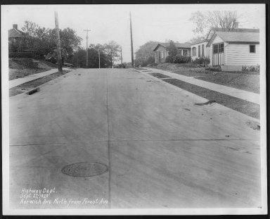 Street Improvement Photographs -- Box 27, Folder 37 (Norwich Avenue) -- print, 1929-09-27