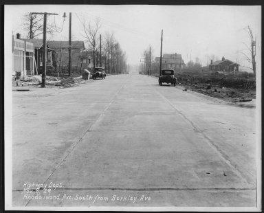 Street Improvement Photographs -- Box 28, Folder 10 (Rhode Island Avenue) -- print, 1929-11-08