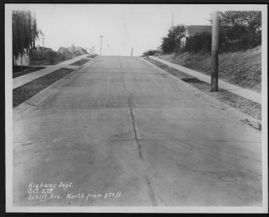Street Improvement Photographs -- Box 28, Folder 36 (Schiff Avenue) -- print, 1929-10-02