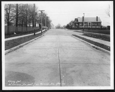 Street Improvement Photographs -- Box 28, Folder 79 (St. Lawrence Avenue) -- print, 1931-02-16