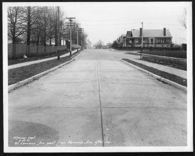 Street Improvement Photographs -- Box 28, Folder 79 (St. Lawrence Avenue) -- print, 1931-02-16