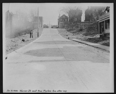 Street Improvement Photographs -- Box 29, Folder 66 (Warner Street) -- print, 1929-01-21