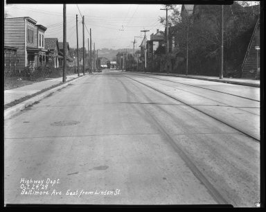 Street Improvement Photographs -- Box 31, Folder 16 (Baltimore Avenue) -- negative, 1929-10-24