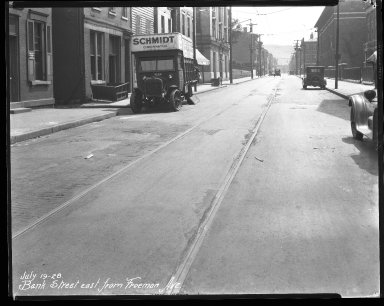 Street Improvement Photographs -- Box 31, Folder 18 (Bank Street) -- negative, 1928-07-19