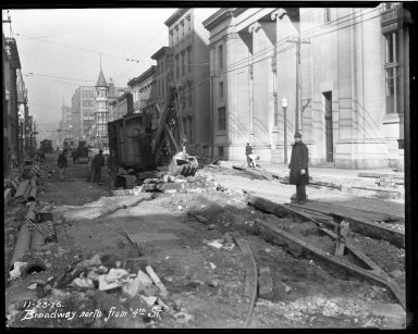Street Improvement Photographs -- Box 32, Folder 29 (Broadway Street) -- negative, 1926-11-23