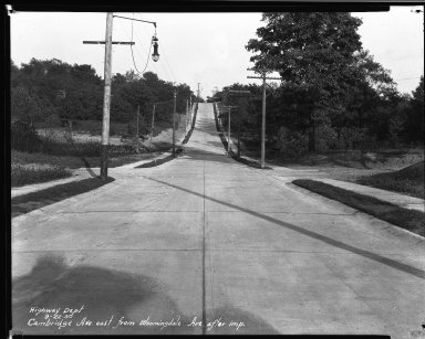 Street Improvement Photographs -- Box 32, Folder 36 (Cambridge Avenue) -- negative, 1930-02-18