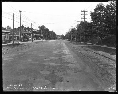 Street Improvement Photographs -- Box 34, Folder 40 (Erie Avenue) -- negative, 1929-06-04