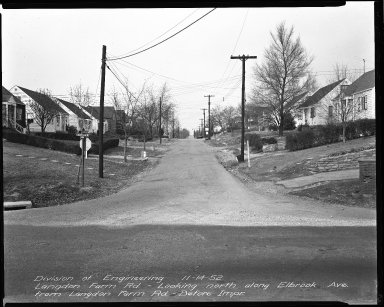 Street Improvement Photographs -- Box 35, Folder 03 (Elbrook Avenue) -- negative, 1952-11-14