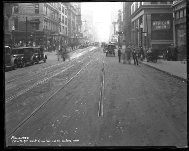 Street Improvement Photographs -- Box 35, Folder 48 (Fourth Street) -- negative, 1929-02-04