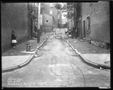 Street Improvement Photographs -- Box 36, Folder 03 (Geneva Court) -- negative, 1929-09-13