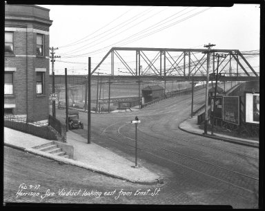 Street Improvement Photographs -- Box 36, Folder 52 (Harrison Avenue Viaduct) -- negative, 1927-02-09
