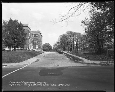 Street Improvement Photographs -- Box 37, Folder 26 (Hope Lane) -- negative, 1946-10-22