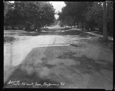 Street Improvement Photographs -- Box 38, Folder 51 (Lester Road) -- negative, 1928-08-10