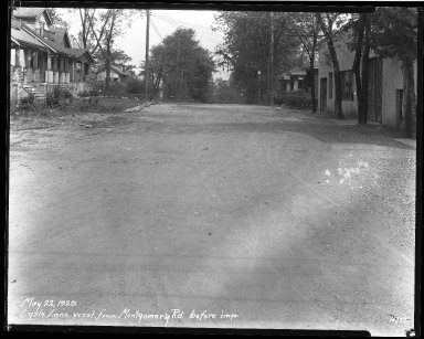 Street Improvement Photographs -- Box 39, Folder 44 (Lysle Lane) -- negative, 1929-05-22
